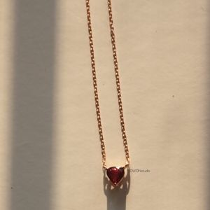 Jewelry - Ruby heart shaped 14k yellow gold necklace